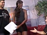 Black chick Ana Foxxx throated and fucked by two white men