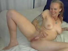 Amateur Skinny Tattooed Busty MILF Squirting