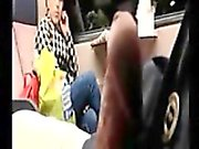 Tricky dick flash in public train to MILF who watching
