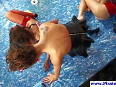 A kinky lesbian group session with smoking hot dolls using their favorite dildos