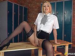 British uniform playgirl does an upskirt tease