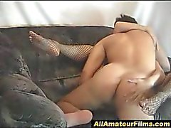 Het blond amatör i fucked fishnets