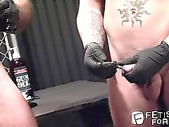 Alessio leads Shane in jacking off with a rod up his cock