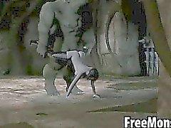 Грудастая 3D брюнетка детка трахает чудовище
