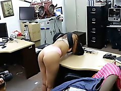 Amateur chick shows off her ass and pounded at the pawnshop