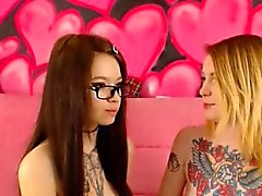 Skinny Tattooed Nerd Teens Having Fun On Cam