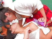 Charley and her hot Asian friend Kami Kai fuck the professor - Scene 1