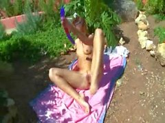 Petite russian chick dildoing her cunt