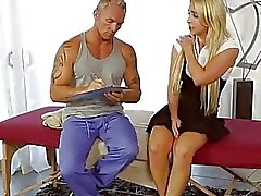 Massaging a beautiful big boobed blondie Alix Lynx