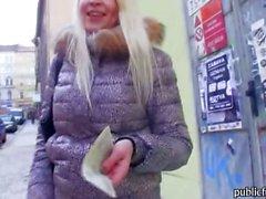 Superb amateur blonde Czech girl Karol sucks and fucked for money