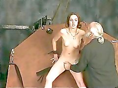 Bound brunette spreads her pussy for master Len
