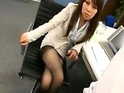 Busty Japanese babe takes a break at work to get banged by