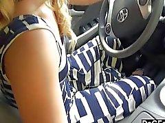 Car handjob while driving
