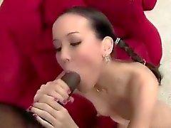 Petite Asian schoolgirl has to please big black dick