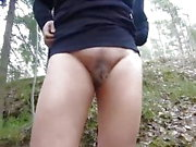 Hairy mature peeing