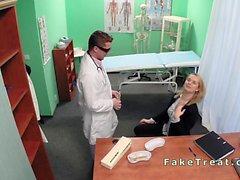 Natural blonde amateur banged in fake hospital
