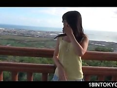 Japanese school sweetheart strips and flashes big tits