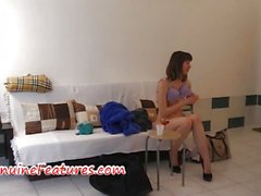 Czech teen cutie shows her pussy in backstage