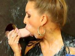 WAM gloryhole action with glam european babe
