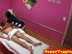 Asian massage babe rides cock for extra cash