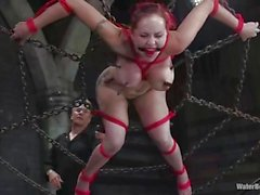 Mz Berlin loves it rough with titty clamps, ropes, and a hose-down