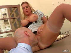 Big breasted office slut Devon Lee sucking dick