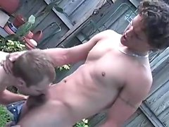 In the pool area, a smoking stud finds Tyler lying outside