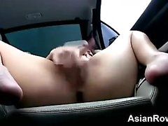 Busty Japanese Babe Fingering In The car