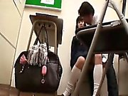 Naughty Asian schoolgirls lie on the floor and get their ha