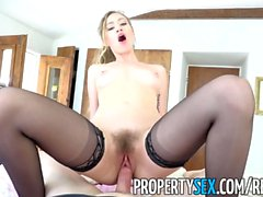 PropertySex - Shady real estate agent with irresistible pussy tricks client