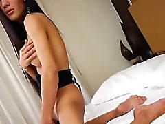 Big espólio Transsexuais asiático mostrar seu buraco merda então masturbar off