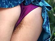 Girls Out West - Hairy lesbians licking pubes outdoors