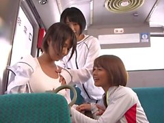 horny lesbians in the Bus fuck in a 3some