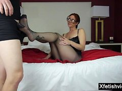 Hot mom footjob and cumshot
