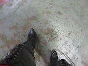 strutta i läder snörning och bakre blixtlås lårens boots