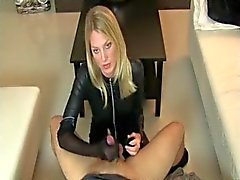 Blonde Leather Catsuit Femdom & Nylon Fetish Handjob