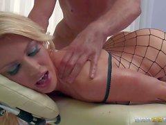 Round assed massage babe Gigi Allens in fishnet body stocking