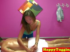 Stunning oriental masseuse riding stiif dick