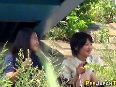 Japanese teen babes pee