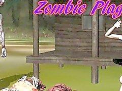3D Hottie lambido e fodido duramente por um zombi