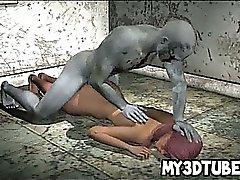3D Heiße Babe bekommt einen Zombie Schwanz ihre nasse Muschi