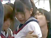 Shocked Teengirls groped in Train