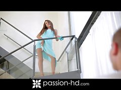 Hot European brunette ditches vibrator for real