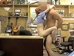 Slim redhead babe pounded by pawn dude at the pawnshop
