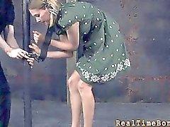 Tied up slave receives pleasuring her naughty twat