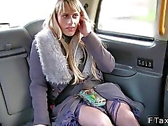 Blonde in pantyhose does anal in cab
