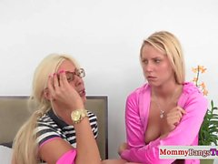 Mature spex milf teaches teen to cockride