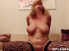 Hot German MILF with big boobs enjoys deep penetration by