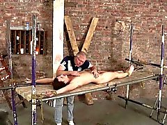 Master uses candle wax to make the bound twink uncomfortable