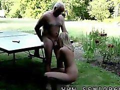 Old man sucked off by a blonde slut